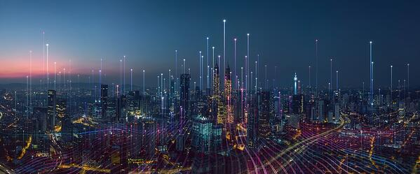 Futuristic city illustrating AI in accounting - Brainbridge